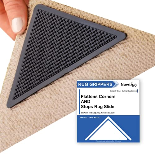 Rug Gripper, 8 PCS Upgraded Triangle Rug Tape for Area Rugs, Reusable Durable Carpet Tape for Wood Floors Tile Floors, No Curl Carpet Corners Rug Grippers for Carpet Runners & Floor Mats