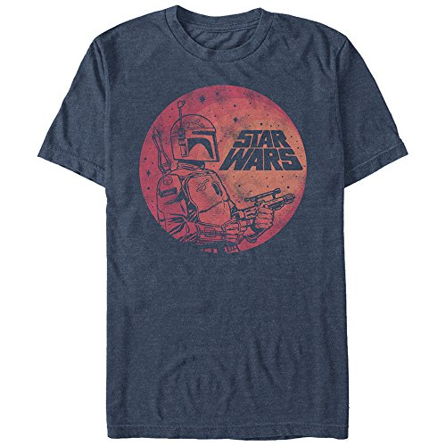 Star Wars Men's Fett up Graphic T-Shirt, Navy Heather, M