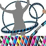 Pro HULA HOOP Reifen für Anfänger und Profis (15 Farben) Faltbarer TRAVEL Hula Hoop ideal für Hoop Dance, Fitness Training, Zirkus! - Größe 100cm, Gewicht 650g (Schwarz / Blau Glitter 100cm/25mm)