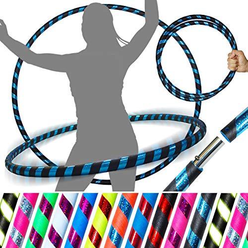 PRO Hula Hoops Reifen für Anfänger und Profis (Ultra-Grip/Glitter Deco) Faltbarer TRAVEL Hula Hoop ideal für Hoop Dance, Fitness Training! - Größe 100cm / 25mm∅ (Schwarz Grip/Blau Glitter)