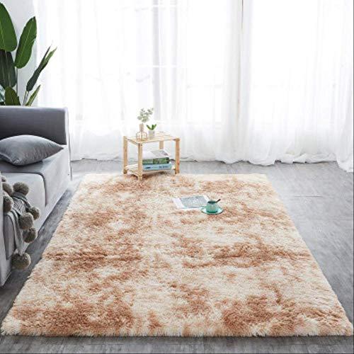 Shaggy Tie-dye Carpet Printed Plush Floor Fluffy Mats Kids Room Faux Fur Area Rug Living Room Mats Silky Rugs 100x120cm Light Camel