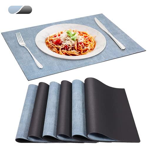 SUEH DESIGN Tovagliette Ecopelle, Set da 6 Tovagliette Cucina Lavabili Impermeabile Resistente al Calore Tovagliette per Tavola 43 x 31 cm, Denim Chiaro & Nero