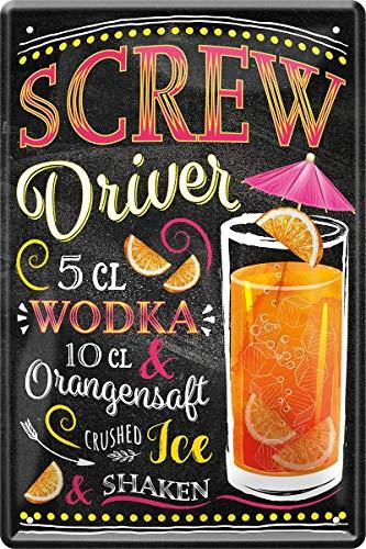 Metalen bord Screw Driver Wodka cocktail recept 20 x 30 cm bar party kelder 184