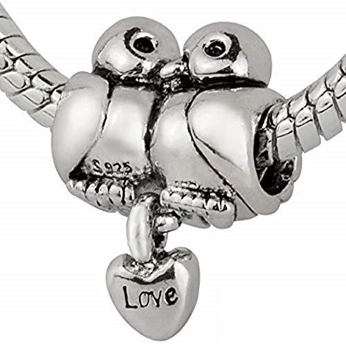Abalorio de plata de ley 925 con diseño de pájaros de amor para pulseras y collares