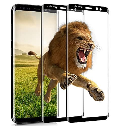 wsky Panzerglas für Samsung Galaxy S8, [2 Stück] Anti-Kratzer, Anti-Bläschen Schutzfolie, HD Panzerglasfolie 3D Vollständige Abdeckung Displayschutzfolie für Samsung S8