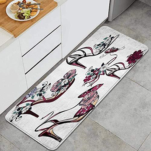 ZOMOY Küchenmatte,Blume Schmetterling auf High Heel Schuhe Stall Mädchen Frauen Mode Feminin,Dicke rutschfeste Küchenmatte (45 * 120 cm)