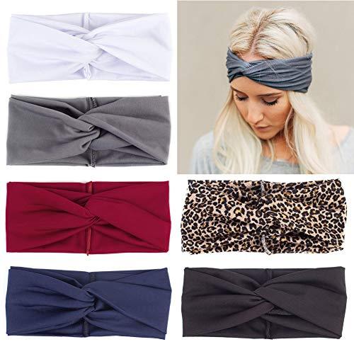6er-Pack Damen Boho-Stirnbänder, elastisches Haarband, gedrehter Knoten, Haarschmuck für Mädchen und Frauen