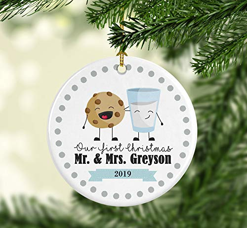 Lplpol First Christmas Ornament, First Christmas Married Ornament, First Christmas Married, Marriage Ornament, Cookies and Milk, Keepsake Gift