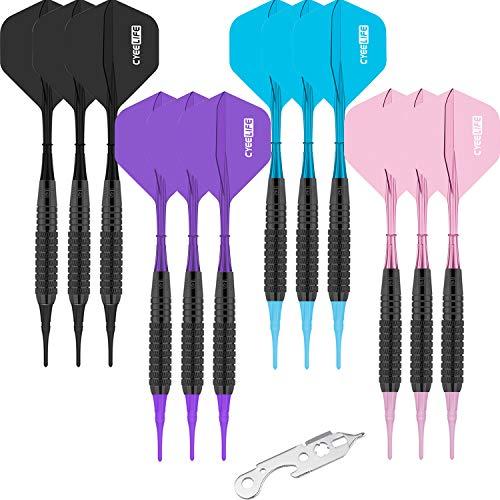 CyeeLife 12 Stück 17gr. Soft Dartpfeile in 4 trendigen Farben. Neue sehr stabile biegsame Kunststoffschäfte mit 100 Spitzen und Darttool