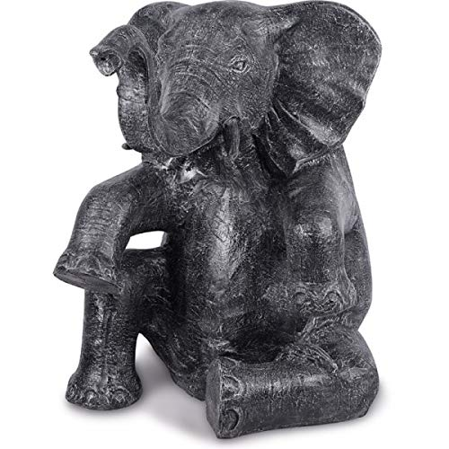 KOH DECO Statue de Jardin éléphant Assis 100 cm - Gris