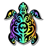 GT Graphics Turtle Tribal Design Colorful - 5' Vinyl Sticker - for Car Laptop I-Pad - Waterproof Decal