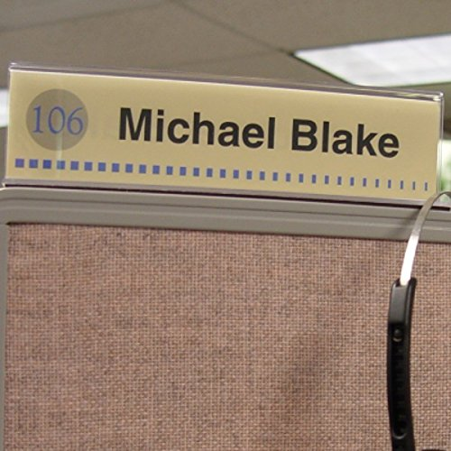 """Cubicle X-Ray Vision 8"""" X 2"""" Double-Sided Office Cubicle Nameplate Sign Frame (12 Pack)"""