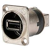 Neutrik NAUSB-W Reversibler USB-Adapter (Typ A und B), Nickel D-Gehäuse