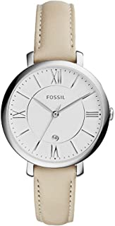 Fossil Women's 36mm Jacqueline Silvertone Watch with Ivory Leather Strap