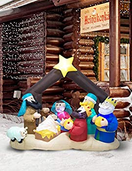 TRMESIA Christmas Inflatable Nativity Sets for Christmas Outdoor Built-in 3 Flashing Lights and 4 White Always Bright Buckle lamp Suitable for Christmas Indoor and Outdoor Lawn Decoration Props