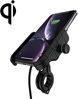 Rydonair Motorcycle Phone Holder with Wireless Charger, 15W Fast Charging Wireless Charger Phone Mount for Motorcycle, ATV,Snowmobile,Motor Tricycle,Scooters,etc