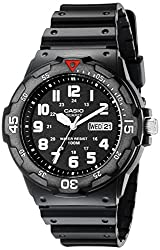 top 10 casio dive watch Casio Japanese Resin Quartz Sport Watch, Black, 18 (Model: EAW-MRW-200H-1BV)