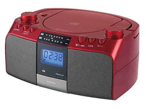 コイズミ CDラジオ AM/FM ワイドFM対応 大型液晶 レッド SAD-4705/R