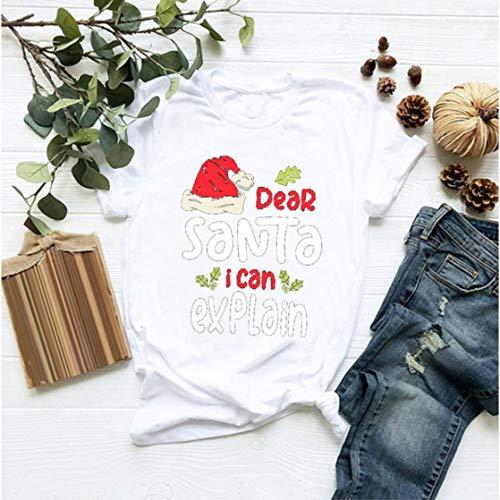 Blue Star Camiseta de Navidad para mujer y adolescente, divertida carta impresa manga corta cuello redondo tops moda camiseta tendencia