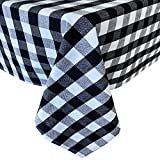 Newbridge Buffalo Check Rustic Indoor/Outdoor Cotton Tablecloth - Cottage Style Farmhouse Gingham Check Pattern Heavy Weight Cotton Weave Tablecloth - 52 Inch x 52 Inch Square, Black