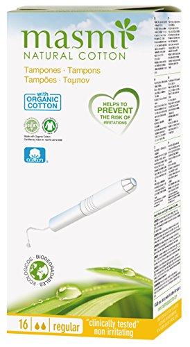 16masmi Regular aplicador tampones algodón orgánico certificado, hipoalergénico, 100% biodegradable, perfume, viscosa, rayón, cloro y libre de la dioxina