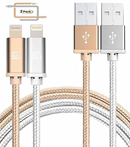 LAX iPhone Charger Lightning Cable - MFi Certified Durable Braided Apple Lightning USB Cord for iPhone 11/11 Pro Max/XS Max/X/iPad, iPod & More 2 Pack