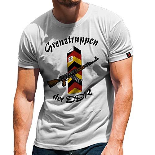 Grenztruppen DDR NVA GR-6 Grenzregiment Hans Kollwitz Honecker T-Shirt #31388, Größe:L, Farbe:Weiß