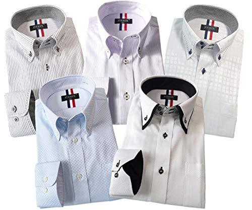 [パリス16ク] ワイシャツ メンズ 長袖 形態安定 ボタンダウン ドゥエボットーニ カッタウェイ 5枚セット 1 M