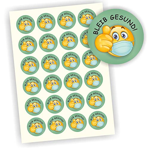 Play-Too 24 Aufkleber Etiketten Bleib gesund Smiley Daumen hoch 40mm