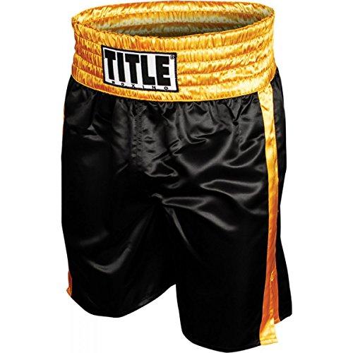 TITLE Professional Boxing Trunks, Black/Gold, Large