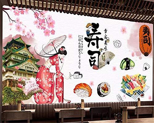XLXBH Fotobehang zelfklevend met 3D-papierbehang voor wandschilderingen, Japanse foto ter decoratie van sushi-achtergrond 3D kinderkamer 400x280 cm (LxA) 8 strisce - autoadesive