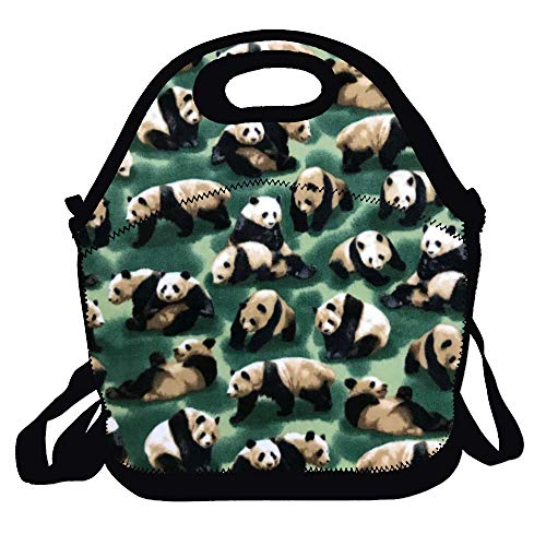 Lunch Bag Neoprene Insulated Cooler Lunch Tote Waterproof and Durable for Kids Picnic School Work Shopping Travel Bag With Zipper, Best Gifts Panda Bears
