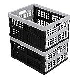 Hespapa Cajas plegables de 15 L, cestas de almacenamiento plegables de plástico...