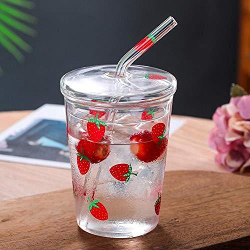 Con una tazza di vetro con cannuccia e coperchio, tazza di succo di vetro, per tazza di caffè, tazza di latte di succo, tazza di latte di latte, tazza di milkshake