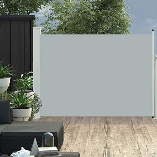 vidaXL Seitenmarkise Ausziehbar Sonnenschutz Sichtschutz Windschutz Seitenrollo Markise Seitenwandmarkise Balkon Garten Terrasse 120x500cm Grau