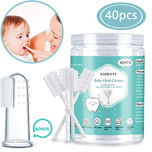 Baby Toothbrush Baby Tongue Cleaner 40Pcs Disposable Infant Toothbrush Clean Baby Mouth Gauze Toothbrush Infant Oral Cleaning Stick Dental Care for 036 Month Baby  Free 1Pcs Finger Toothbrush