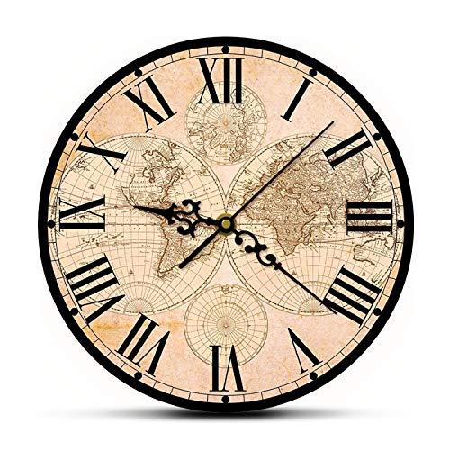 yage Mapa del Mundo Antiguo del Siglo XVII Impresión de Bellas Artes Reloj de Pared Moderno Mapa histórico del Mundo Reloj de Pared de Barrido silencioso Regalo de inauguración de la casa