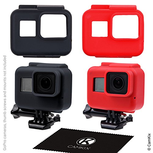 CamKix Silicone Sleeve Cases Compatible with The Frame Gopro Hero 7/6 / 5-2 Protective Covers - Black/Red - Protection for GoPro Camera Inside The Frame - Against Dust,Scratches and Light Shocks Black Silicon Sleeve Cover