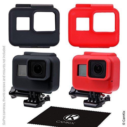 CamKix Fundas de silicona para el marco de su Compatible con GoPro Hero 5 Black - 2 Cubiertas protectoras - Negro / Azul - protección a su cámara GoPro Hero 6 / 5 dentro del marco