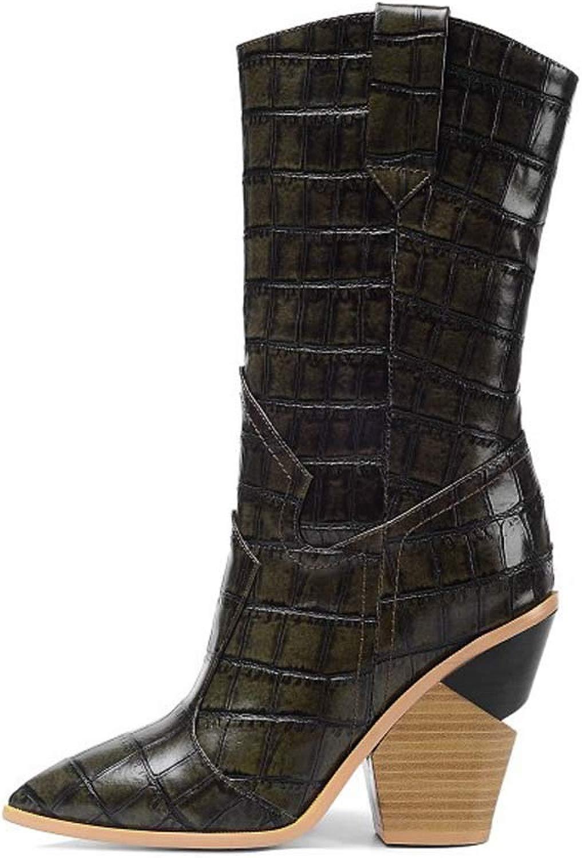 Damen Lederstiefel Stiefel in überGröße Damen Damen Damen Stiefel Mit Steinmuster,Schwarz,35 221