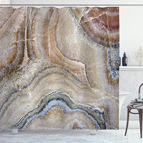 """Ambesonne Marble Shower Curtain, Surreal Onyx Stone Surface Pattern Pale Blue Details Picture, Cloth Fabric Bathroom Decor Set with Hooks, 70"""" Long, Cinnamon Grey"""