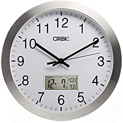 Wall Clock with Digital Date, Day of Week and Temperature Meter, Round 12 Silent, Non-Ticking by Cirbic