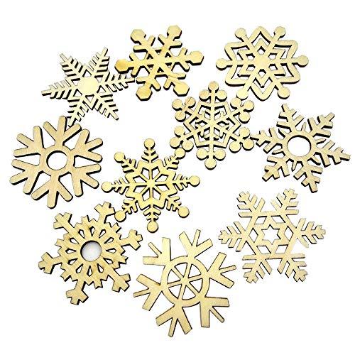 Transwen Weihnachten DIY, 10Pcs sortierte hölzerne Schneeflocke Weihnachtshochzeits Baum hängende Verzierung Dekor Robuste Holz Scheiben für Weihnachten (Gelb)