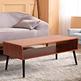 Coffee Table Mid-Century Coffee Table with Storage, Wood Center Tables for Living Room