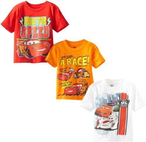 Disney Little Boys' Toddler Cars 3 Pack T-Shirt, Multi, 3T