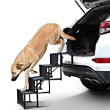 rabbitgoo 4-Step Pet Car Step Stairs for Large Dogs & Cats, Portable & Folding Pet Stairs Ramp with Metal Frames Lightweight Pet Dog & Cat Ladder with Non-Slip bottom for Cars, SUVs, Trucks Beds Sofas