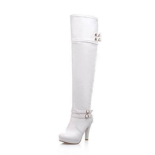 9de63b444dd BalaMasa Womens High Heels Above The Knee Solid PU Thigh Boots