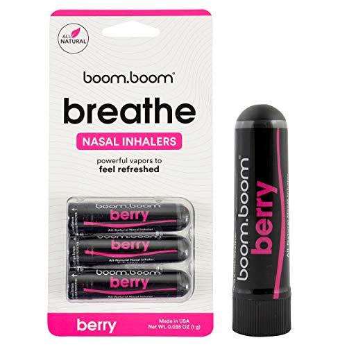 BoomBoom Inhalador nasal de aromaterapia (aumenta el enfoque y mejora la respiración) proporciona una sensación fresca y refrescante con aceites esenciales y mentol Paquete de 3 Berry breeze