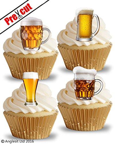 vorgeschnittenen Biergläser Pint Lager essbarem Reispapier/Waffel Papier Cupcake Kuchen Topper Geburtstag Party Dekorationen