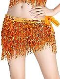 Falda Danza del Vientre para Mujer Lentejuelas Latino Flecos Irregular Falda Corta Baile de Salón Disfraz Fiesta Dancewear Naranja Color Talla Única Orange